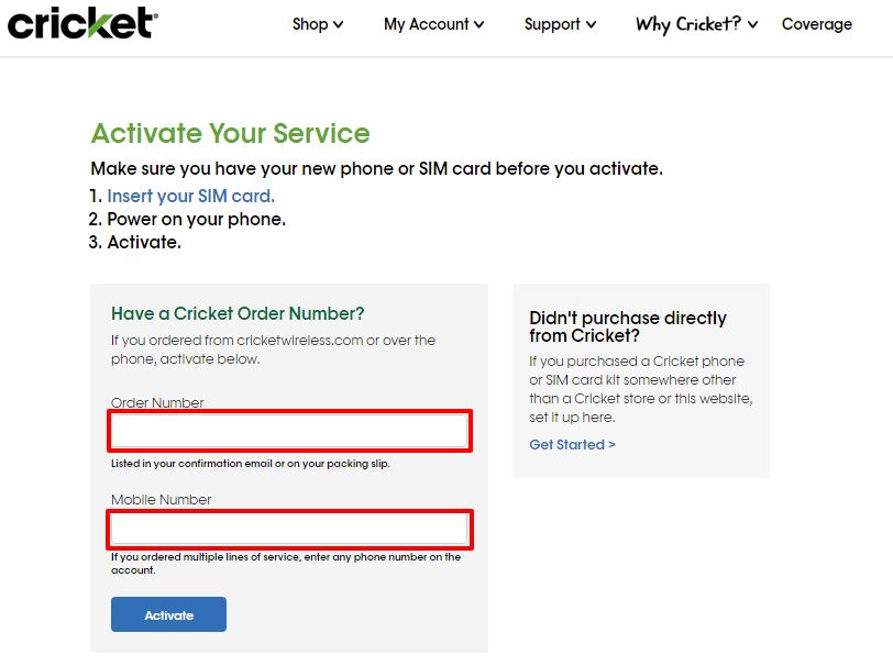 Activate the Cricket Wireless service