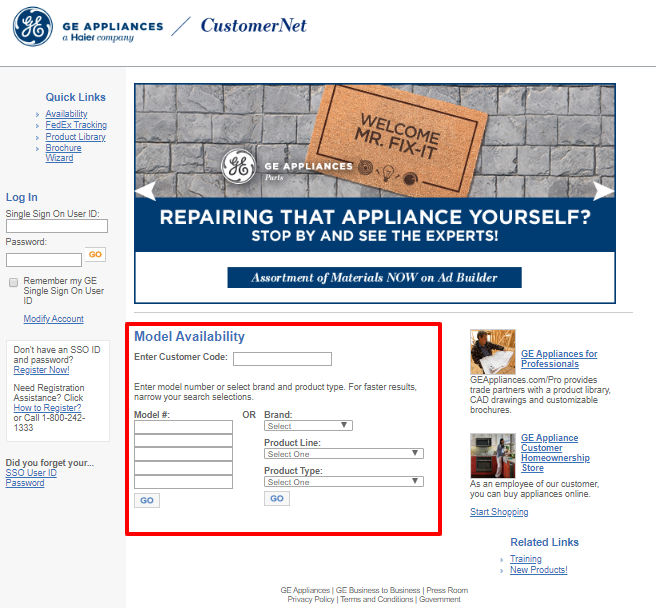 Get To Login or Search GE Customer Net