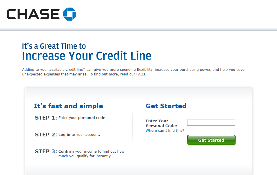 Increase Credit Line of Chase Credit Card for flexible expenditure