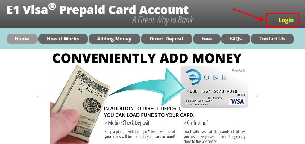 E1 visa prepaid card account login