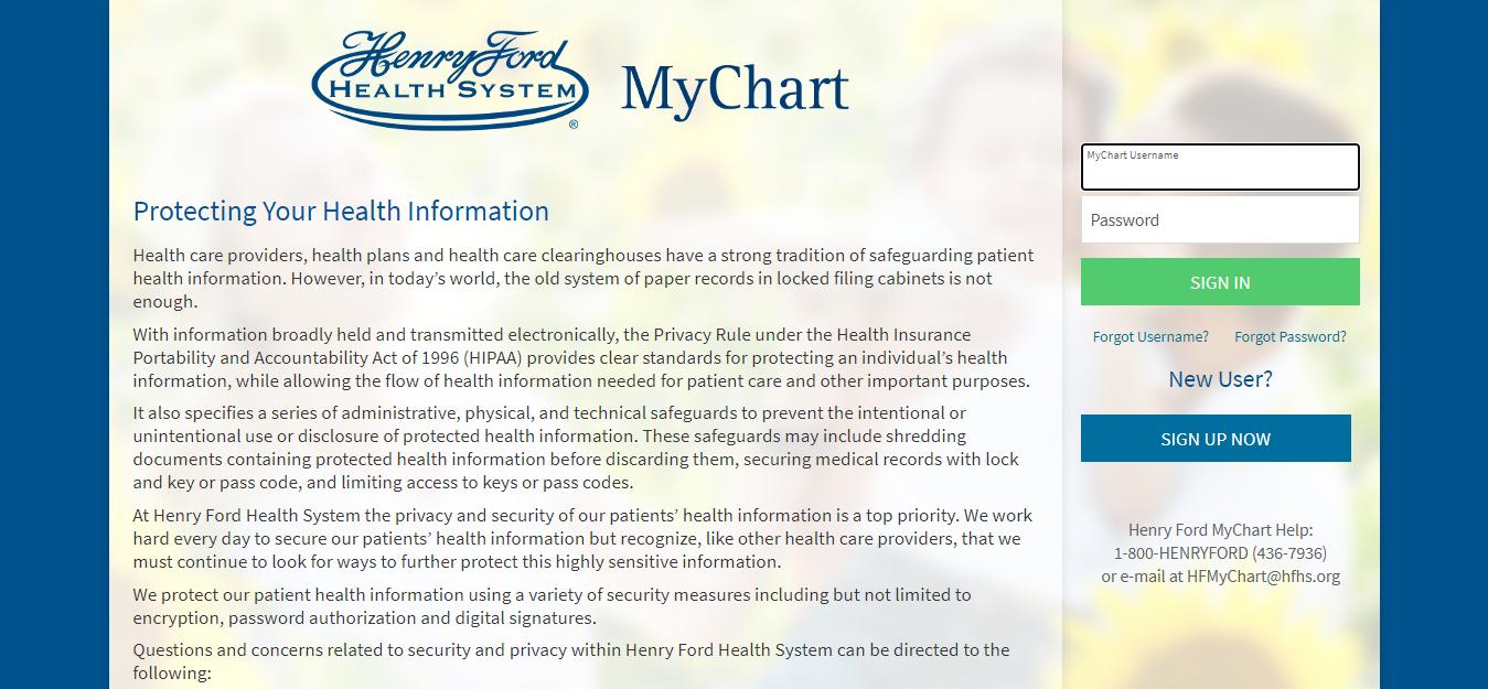 Henry Ford MyChart Online Portal
