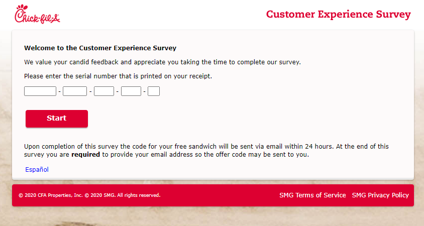 Chick fil A Customer Experience Survey