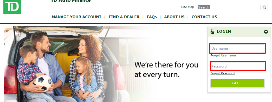 How to Login to TD Auto Finance online account
