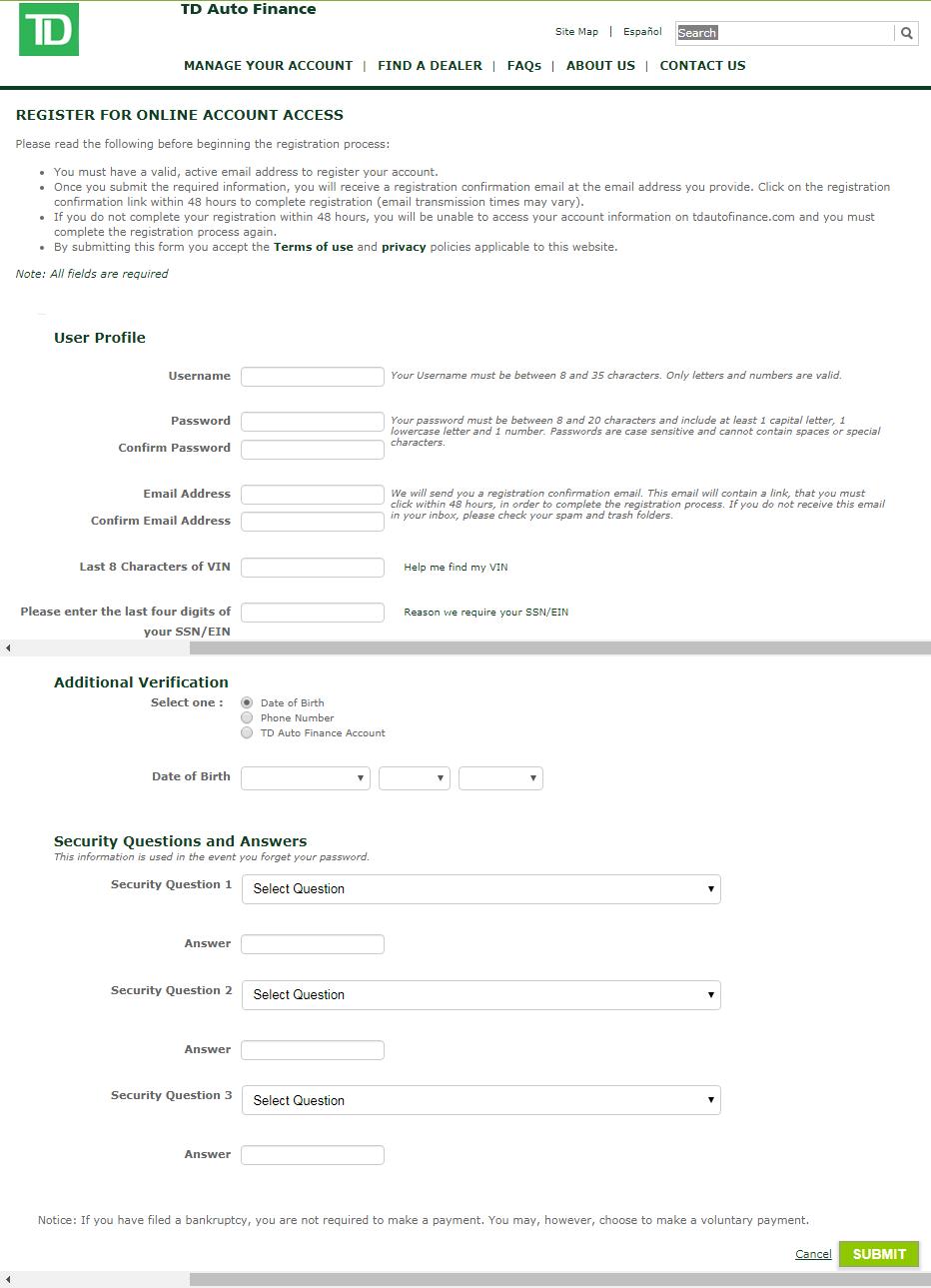 Login to TD Auto Finance online account