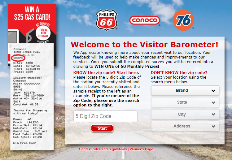 Phillips 66 Survey & Win Free Gas for a Year