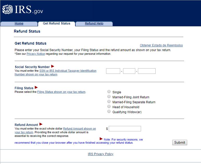 Xpress Refund Card Get Refund Status