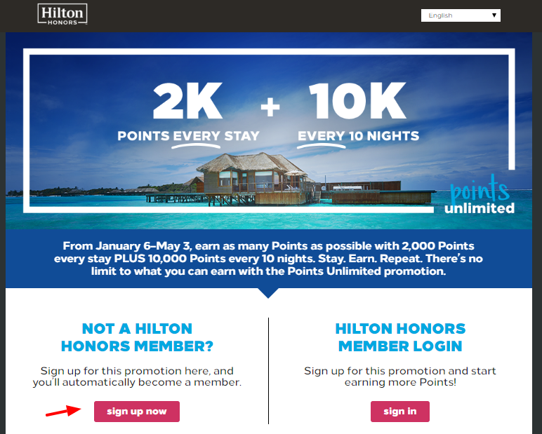 Hilton Honors Points Sign Up