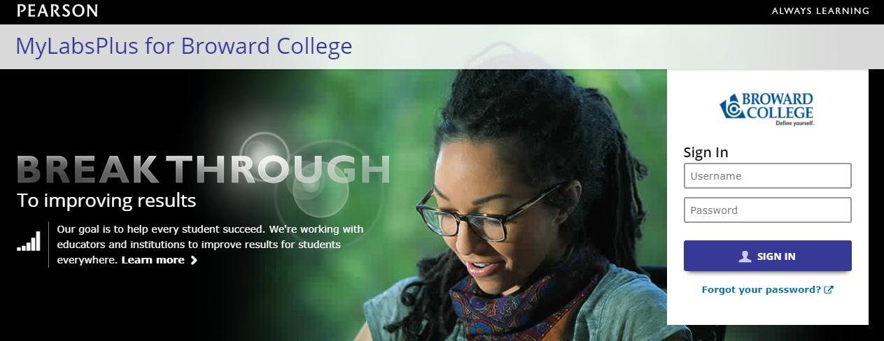 Utilizing Broward College study material via MyLabPlus