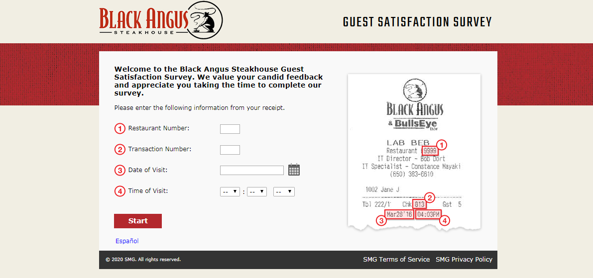 Black Angus Steakhouse Guest Satisfaction Survey