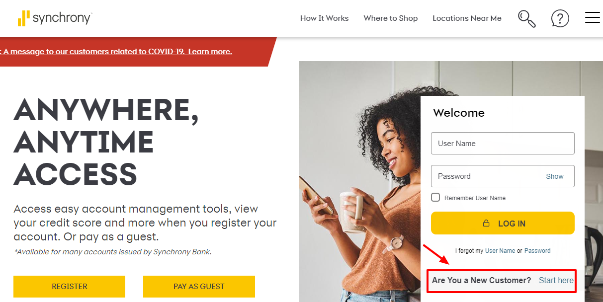 Register for the Synchrony Online Account