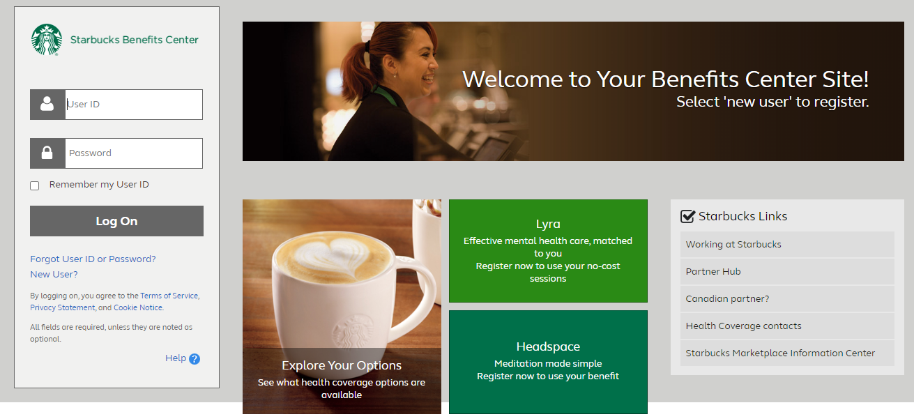 Starbucks Benefits Center Portal login
