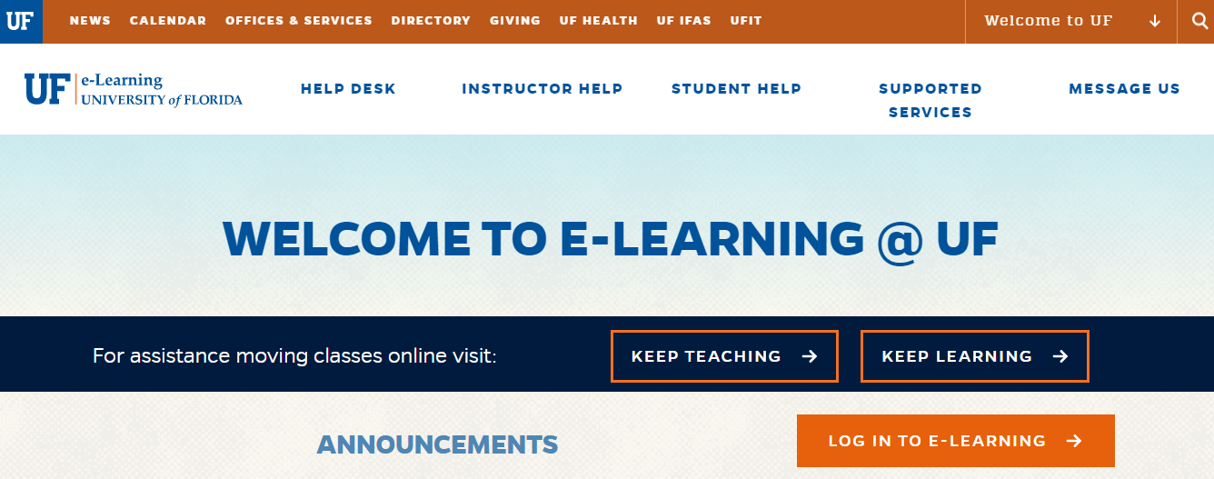 University of Florida e-Learning Login