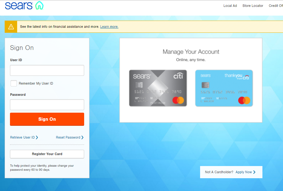 Sears Credit Card Account Login