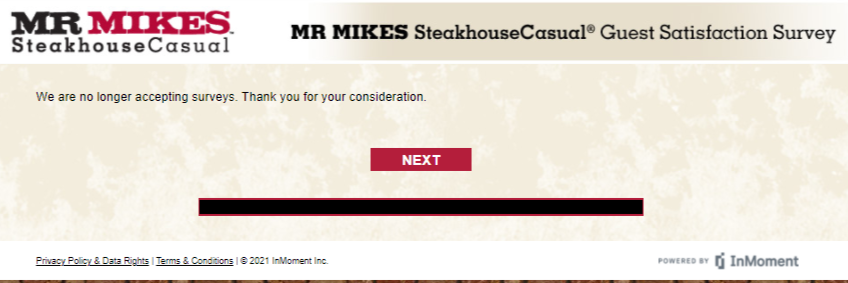 MR MIKES Steakhouse Guest Satisfaction Survey