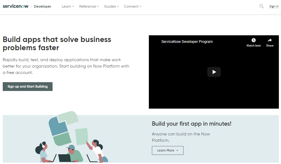 servicenow developer portal